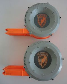 2-NERF-RAIDER-CS-35-DART-GUN-DRUM-MAGAZINE-CLIPS-REPLACEMENT-PARTS