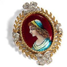 FRANKREICH! Brosche & Anhänger in 750 Gold, Diamanten & Email, H. Chéron Limoges | eBay