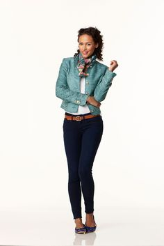 A tucked-in tee and smart blazer take everyday jeans from casual to polished.