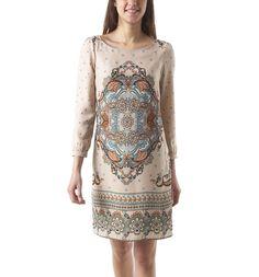 Scarf print dress - Khaki print - Women - Dresses - Promod