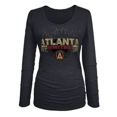 Atlanta United FC 5th & Ocean by New Era Women's Tri-Blend U-Neck Long Sleeve T-Shirt - Heather Black
