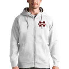 Mississippi State Bulldogs Antigua Victory Full-Zip Hoodie - White