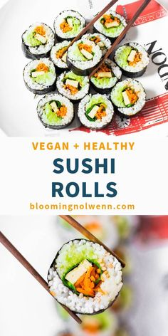 Easy Vegan Sushi Rolls are delicious healthy easy to make and great for lunch dinner and even for parties Healthy Sushi Rolls, Vegetarian Sushi Rolls, Homemade Sushi Rolls, Sushi Roll Recipes, Easy Vegan Lunch, Vegetarian Recipes, Healthy Sandwiches, Delicious Sandwiches, Dinner Healthy
