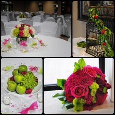 White, Pink, and Green Centerpiece