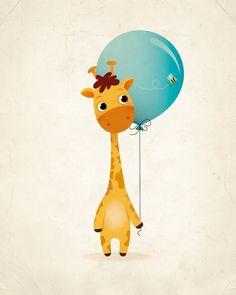 Giraffe and balloon art print nursery print by IreneGoughPrints
