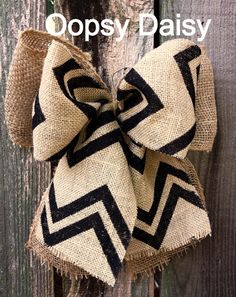 This is my creation and available on etsy. 10 brown and black chevron & burlap bow by OOPSYDAISYDESIGNS, $17.00