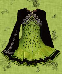 green/black Irish dance solo dress needs something to pull in the waste a bit but  lovely.