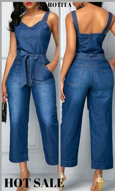 High Waist Open Back Pocket Blue Jumpsuit.I strongly recommand this high waist jumpsuit for you,you must be very beautiful once you dress it. Sexy Outfits, Classy Outfits, Casual Outfits, Cute Outfits, Blue Jumpsuits, Jumpsuits For Women, African Wear, African Fashion, Denim Overall