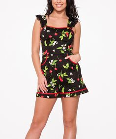Another great find on #zulily! HEARTS & ROSES LONDON Black & Red Cherry Blossom Romper - Plus Too by HEARTS & ROSES LONDON #zulilyfinds