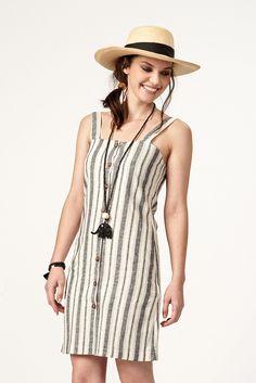PLS fashion : Φόρεμα ρίγα με κουμπάκια (4045) Linen Dresses, Fashion, Moda, Fashion Styles, Fashion Illustrations