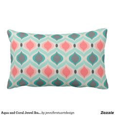 Aqua and Coral Jewel Ikat Pattern Lumbar Pillow Coral Throw Pillows, Decorative Throw Pillows, Ikat Pattern, Lumbar Pillow, Aqua, Jewels, Home, Master Bedroom, Curtains
