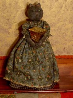 Primitive PATTERN Cat Doll, wood pedestal, prim folk art