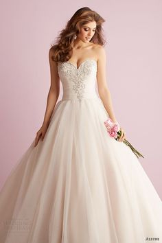 allure romance wedding dress spring 2014 strapless ball gown style 2710
