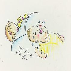 【Around midnight】今日はなかなかのおむずかりで甘えんぼだったムスッコ。立って抱っこを延々要求されました。frowny son! #baby #drawing #illustration #frog #bison #frown #frowny #おえかき #イラスト #赤ちゃん #かえる #バイソン #息子 #抱っこ #新米ママ