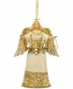 Jim Shore Christmas Ornament, Ivory & Gold Angel