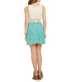 Sequin Hearts Crochet Illusion-Waist Tank Dress