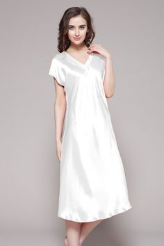 Unique and stylish, this free style nightwear adds sophistication to summer sleepwear, which is just as cozy as it is comfortable. With cool style and luxurious color, this silk nightgowns is truly a work of art. Exquisitely details of this long silk nightgown are only for you, who have the best tastes.