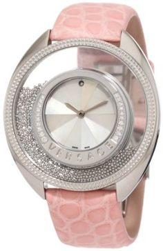 Versace Women's Diamond Mother-Of-Pearl Pink Genuine Crocodile Watch. dying.