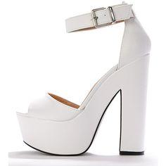 c5885841e02 Madison White Platform Sandal ( 7.87) ❤ liked on Polyvore featuring shoes