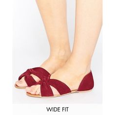 ASOS JERICO Wide Fit Suede Knot Summer Shoes (1,510 DOP) ❤ liked on Polyvore featuring shoes, red, red suede flats, wide width shoes, red flats, red flat shoes and red peep toe shoes
