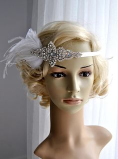 Rhinestone flapper Gatsby Wedding Headband by BlueSkyHorizons