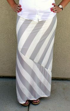 Make a $7 mismatched striped Maxi Skirt! So cute and she shares a link to a great site for ordering cute knits on the cheap!