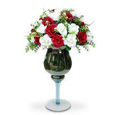 Arranjo de Flores Artificiais Rosas vermelhas e branca na Taça de vidro, flores em seda importada com corte a laser. É uma composição Sofisticada e atraente  Este projeto fica excente em mesa de festa Vamos decorar a casa,escritório e etc, com este lindo acessório decorativo ? O Arranjo artificial de flores mistas na taça de vidro  pode ser levado a mesa sem interferir no cheiro da comida.  Excelente para os alérgicos. Incontestável em durabilidade comparada a natural. O valor e as dimensoes…