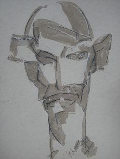 don Quichote / oil,cardboard,pedrage