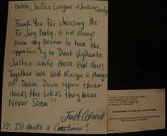 So my friend got out of jury duty with an enthusiastic note.