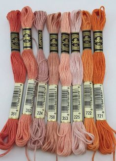 Corals Pinks & Reds: DMC Classic 6 Strand by SewWhatDesignsUS