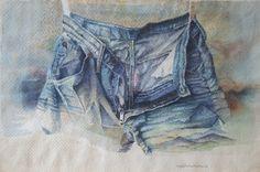 i jeans di Anna, acquerello, 1986.
