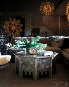 Beautiful handcrafted metalwork Moroccan table. Elle Decor.