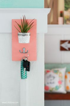 DIY Succulent Potted Mason Jar Key Holder  via LollyJane.com
