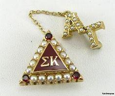 1949 Sigma Kappa, 3 Garnets, 15 Pearls, Yellow Gold, Alpha Gamma Guard