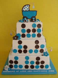 Blue and Brown It's A Boy Baby Shower Cake