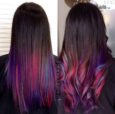 pink blue and purple ombre highlights