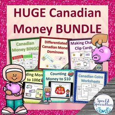 HUGE Canadian Money Digital and Print Activity Packet by SpecEd Specialties Canadian Coins, Canadian History, Teaching Tools, Teaching Resources, Money Bingo, Touch And Feel Book, Ontario Curriculum, Money Activities, Self Advocacy