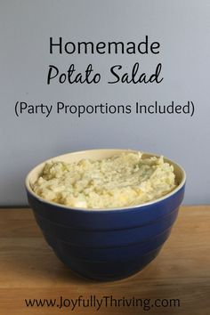 Homemade Potato Salad Recipe - Whether you want to make potato salad for your family or for a crowd, check out this recipe with the party portions already figured out!