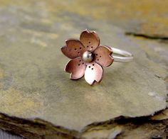 Cherry Blossom Ring, Sakura Flower, Metalsmithing, Copper Jewelry.