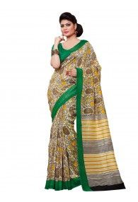 Shonaya Beige & Brown Color Silk Printed Saree With Unstitched Blouse Piece