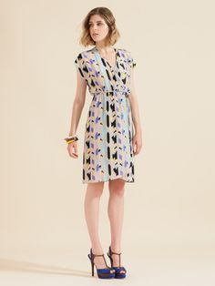 Tucker wrap dress - and cute blue heels