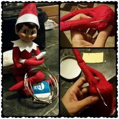 No sew bendable elf on a shelf. For $1, and 5 minutes,  I made our elf bendable. This is the no sew  technique. I used a needle to stretch apart in between one stitch just enough to get the wire through.  I  folded the wire in half for strength. Then slid it in the opening. I did Not have to take apart the seems at the elbows or knees. Worked like a charm!