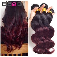 Ombre Brazilian Hair 4 Bundles Brazilian Body Wave 1B/Burgundy 99j Brazilian Virgin Hair Ombre Hair Extensions Ombre Human Hair