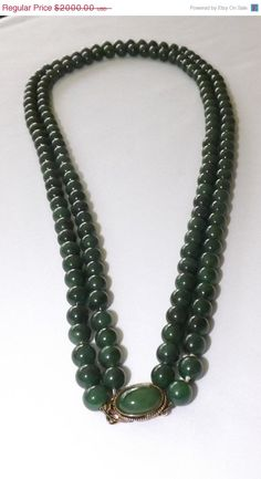 ❘❘❙❙❚❚ ON SALE ❚❚❙❙❘❘     Beautiful Jade Necklace with 150 Nephrite Jade Beads and 14K Gold Cabochon Clasp.    Double strands with 26 inch and