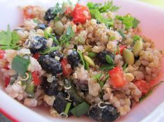 Quinoa salad w/ blackbeans and chicken. Lime and cilantro make this recipe particularly amazing.