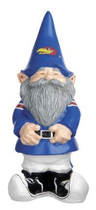 """NCAA Kansas Jayhawks Garden Gnome by Evergreen. Save 26 Off!. $19.49. Made of resin for durability and to keep looking for years to come. Stands 11.25"""" tall. Cheerleader is 4.75"""" long. Makes a great gift for a college sports fan, alumni or student. Looks great in the yard to show your team loyalty or inside to cheer on your Jayhawks. University of Kansas Garden Gnome. Double the fun and match this gnome up with our NCAA Sports Lucky Cheerleader Gnomes! Perfect for indoor or outd..."""