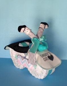 Girl Diaper Motorcycle Diaper Cake Diaper by PamperedBabyCreation, $52.00