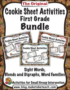 Cookie Sheet Activities Bundled- just for 1st grade. Volume 3- sight words, 5- Blends and Digraphs, and 6- Word Families. Great for centers!
