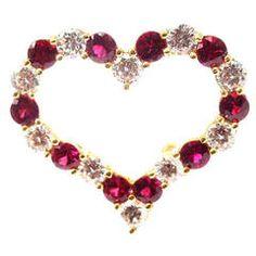 Tiffany & Co. Ruby Yellow Gold Diamond Heart Pin Brooch