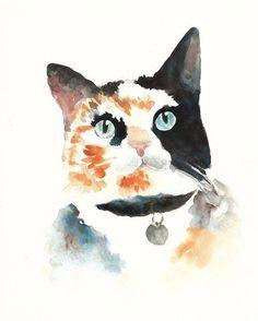Watercolour calico cat.
